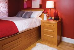 Build a bed with storage – Canadian Home Workshop Canadian Woodworking, Woodworking Plans, Diy Furniture Plans, Wood Furniture, Captains Bed, Built In Bed, Home Workshop, Diy Bed, Bed Storage