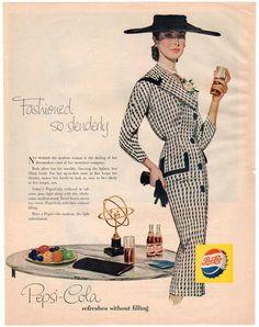 Vintage 1956 Pepsi Cola Magazine Print Ad Fashionable Lady in a Black Hat