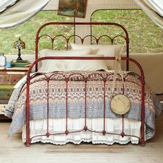 """VIDYA QUILT--An intricate print in on faded rose background is bordered by blue and ivory. Handquilted and just the right weight for year-round use, our quilt adds color and comfort suited to sweet dreams. Cotton. Machine wash. Imported. Queen, 92""""W x 96""""L; king, 102""""W x 96""""L. Red Painted Furniture, Furniture Decor, Painted Iron Beds, Furniture Vintage, Wicker Furniture, Painting Furniture, Bedroom Furniture, Home Bedroom, Bedroom Decor"""