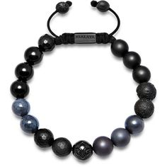 Men's beaded bracelet with matte onyx, lava stone and black agate ($289) ❤ liked on Polyvore featuring men's fashion, men's jewelry, men's bracelets, mens onyx bracelets, mens bracelets, mens beaded bracelets, mens watches jewelry and mens string bracelets
