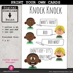 Knock knock ya who joke greeting card for kids instant download knock knock joke boo greeting card for kids instant download printable pdf jpg birthday card invitations funny card for children m4hsunfo