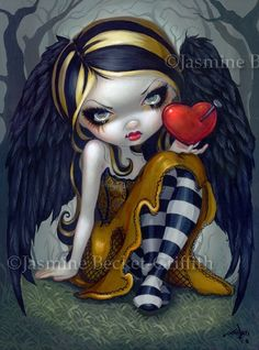 Loving Jasmine Becket-Griffith .. her art always reminds me of my daughter, it could be the pug nose, small mouth and big eyes....  oh  and let's not forget  the creepy w/ attitude : )