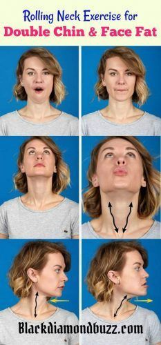 How to Get Rid of Double Chin and Face Fat Fast and Easy in a Week - Stick It Out : While facing forward, open your mouth wide. Stick your tongue out slowly over a five count, until it is as far out as possible. Return the tongue to your mouth over another five count. Repeat this 10 times.