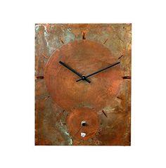 "Patinated copper quartz two dials 14"" double wall clock"