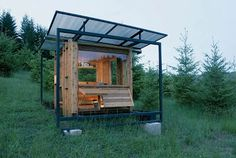 """""""Watershed House 70 square feet FLOAT Architectural Research and Design Wren, Oregon Built for a writer who wanted to channel his own inner Thoreau, the tiny Watershed House has got to offer some of the most stylish living available in 70 square feet. Reducing a cramped feeling, the cabin has lots of openings to let the light and the scenery in."""""""