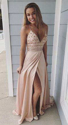 Spaghetti Straps Prom Dresses,long Prom Dress, Beaded Prom Gown,party Dress With Side Slit Beige Prom Dresses, Straps Prom Dresses, Cute Prom Dresses, Ball Dresses, Pretty Dresses, Homecoming Dresses, Beautiful Dresses, Evening Dresses, Prom Gowns