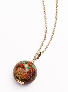 Art Deco Cloisonne Pendant Necklace, Enamel Vintage Jewelry