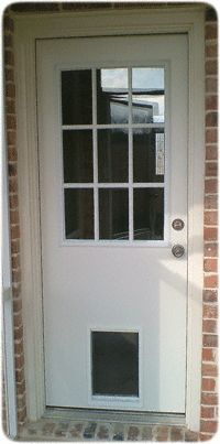 Doggie delight door by jeld wen allow your pet come and for Entry door with built in screen