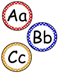 Teach Junkie: 5 Free Printable Word Wall Alphabet Cards - Polka Dot Circular