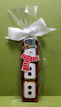 Stampin' Up Snowman Nugget Holder made by Lynn Gauthier using SU's Snow Place Stamp Set and Snow Friends Framelits Dies.  Go to http://lynnslocker.blogspot.com/2015/12/stampin-up-snowman-nugget-gift-treat.html to see how to make this project.