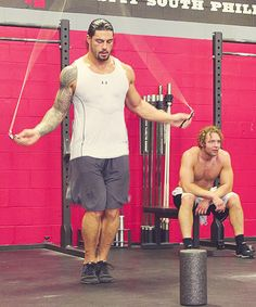 Roman Reigns and Dean Ambrose. Two of the best WWE wrestlers in the business today and great eye candy as well!!