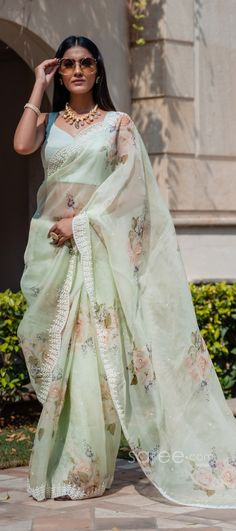 Half Saree Lehenga, Wedding Sari, Party Wear Sarees, Printed Sarees, Indian Sarees, Digital Prints, Floral, Fabric, How To Wear