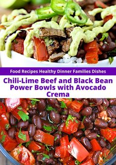 Chili-Lime Beef and Black Bean Power Bowls with Avocado Crema - The ingredients and how to make it please visit the website Recipes Small Food Processor, Food Processor Recipes, Healthy Dinner Recipes, Easy Recipes, Healthy Food, Avocado Crema, Grilled Beef, Chili Lime, Avocado Recipes