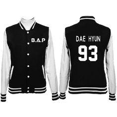 KPOP B.A.P Album MATRIX arsity Baseball Jacket DaeHyun YongGuk JongUp... ❤ liked on Polyvore featuring outerwear, coats and over coat