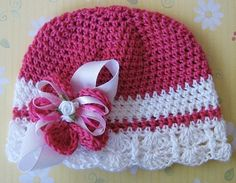 Pink Blossom-Sweet Vintage Inspired Crocheted Hot Pink and White Scalloped Hat-Crochet Flower Clip-Newborn Crochet Hat-Baby-Hat-Winter Hat