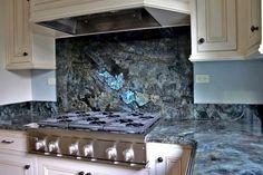 labradorite backsplash :: Pietra Fina, Inc. Blue Granite Countertops, Granite Kitchen, Kitchen Countertops, Kitchen Backsplash, Gemstone Countertops, Black Granite, Stone Slab, Kitchen Design, Kitchen Ideas