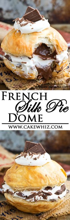 This easy FRENCH SILK PIE DOME is made up of two crispy pie crusts and filled with rich and creamy chocolate mousse and topped off with whipped cream! A fun spin on a classic French dessert! From cakewhiz.com