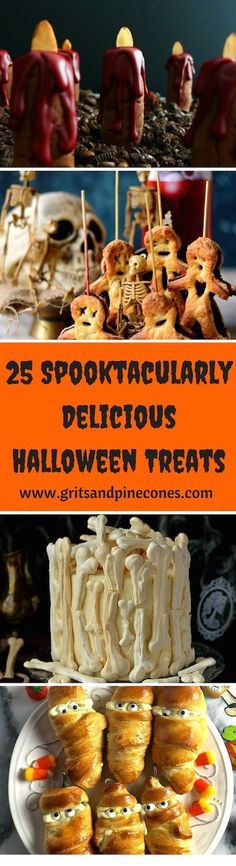 Are you looking for Halloween food recipes or appetizer ideas for a party? Scare up some smiles with these 25 super cute, kid-friendly spooktacular treats! www.gritsandpinecones.com