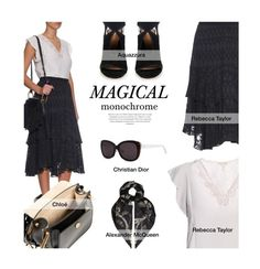 """Magical Monochrome"" by tracey-mason ❤ liked on Polyvore featuring Rebecca Taylor, Aquazzura, Alexander McQueen and Christian Dior"