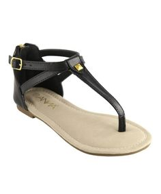 Love this Black Pyramid Stud T-Strap Sandal by Anna Shoes on #zulily! #zulilyfinds