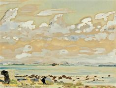 Fairfield Porter, A View from the Coast,  watercolor & gouache, Private Collection