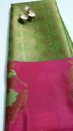 Elegant n exclusive weaved on kora kanchi saree with satin silky finish BORDER with Doll weaving on it. Contrast brocade blouse. Price : 2750 Order what's app 7995736811