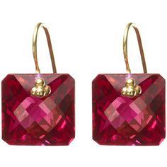 Nikki Baker Red Topaz Asscher Drop Earring ($245) ❤ liked on Polyvore
