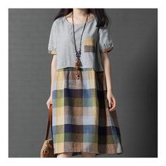 Women loose fit over plus size checkers patchwork dress flax linen tunic casual Long Summer Dresses, Simple Dresses, Cute Dresses, Casual Dresses, Patchwork Dress, Green Dress, Dress Patterns, Plus Size Fashion, Vintage Fashion