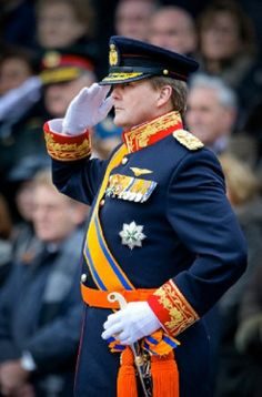 King Willem-Alexander of The Netherlands attends the 200th anniversary of the Royal Netherlands Army 2014 with a standard greeting to the King at Plein 1813 in The Hague