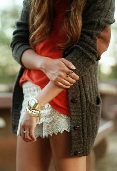 great outfit! love it!! love the lace+cardigan+coral-ish top!