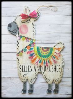 Llama, Llama who's your mama! LOL! Llama door hanger, bright and distressed with funky love. Truly and original piece of artwork to welcome guests into you home. #llama #dramallama #whosyourllama #doorhanger #llamadoorhanger Wooden Door Hangers, Baby Door Hangers, Wall Hanger, Wooden Doors, Wooden Door Signs, Llamas, Llama Llama, Llama Decor, Wood Cutouts