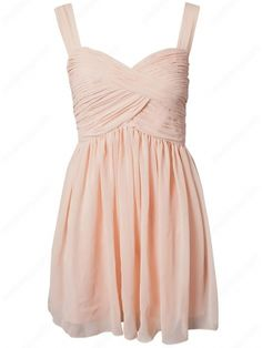 A-line Straps Chiffon Short/Mini Sleeveless Pleats Party Dresses at Msdressy