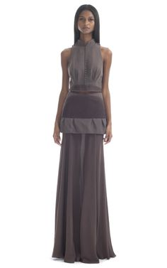 Shop Pale Brown Illusion Gown by Paula Raia for Preorder on Moda Operandi