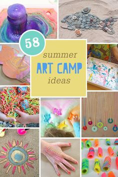58 Summer Art Camp Ideas for kids! If you are looking for some fun and colorful art projects for kids to do this summer- there are some awesome ideas on this roundup! I love all the nature art projects. Summer Camp Art, Summer Camp Activities, Summer Camp Crafts, Craft Activities For Kids, Summer Kids, Fun Crafts, Art Camp, Preschool Summer Camp, Summer Art Projects