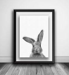Items similar to Rabbit Head printable, Wall art black and white print, Bunny Head nursery animal head on Etsy Woodland Decor, Woodland Nursery, Rabbit Head, White Nursery, Animal Nursery, Animal Heads, Cute Drawings, Printable Wall Art, Etsy