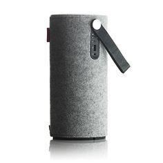 Great looking wireless speaker with woolen sleeve. Libratone Zipp.