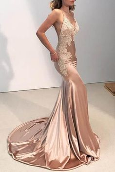 213c1807722 Lace Spaghetti Straps Sleeveless Backless Long Solid Stretch Mermaid Prom  Dress