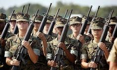 Female Marines in formation. The fewer the prouder.