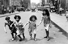 Helen Levitt     Four Girls Running in the Street, New York City     1940