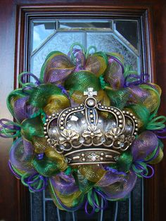 Purple Green and Gold Deco Mesh Mardi Gras by FreckleFaceCrafts, $47.00 LOVE!