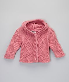 Look at this Raspberry Knit Hoodie Cardigan - Infant