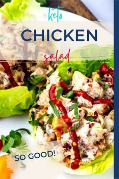 This easy Keto Chicken Salad with Pickles is easily my favorite chicken salad recipe that I've ever made. It is so full of flavor with bacon, pickles, and a tangy mayo-based sauce. Make this one for your next family dinner, and you will have a glow of satisfaction that comes from serving something that everyone loves. Low Carb Chicken Salad, Salad Recipes Low Carb, Healthy Low Carb Dinners, Low Carb Chicken Recipes, Low Carb Dinner Recipes, Chicken Salad Recipes, Lunch Recipes, Best Gluten Free Recipes, Keto Recipes