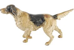  Beautiful longhaired pointer dog cast iron doorstop.