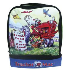 """Tractor Mac Lunch Tote """"Fresh Food is Great Food!"""" The fascinating International Harvester McCormick Farmall character, Tractor Mac makes an appearance on this fantastic lunch tote. Pack your little farmer's snacks and lunches for any occasion. #tractor #InternationalHarvester #farmer"""