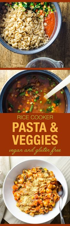 Rice Cooker Pasta with Veggies - an easy main meal with simple vegan and gluten free ingredients | http://VeggiePrimer.com