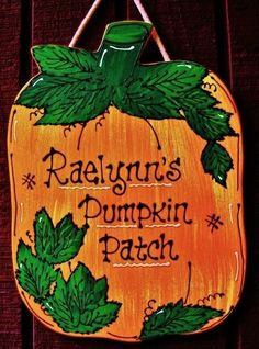 Personalized PUMPKIN PATCH Name Sign Holiday Fall Autumn Plaque Decor Hanger #HandcraftedbyMillerFamilyWoodcrafts