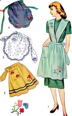 1940s Apron Pattern Simplicity 1837 Full Apron with Suspenders Half Apron Womens Vintage Sewing Pattern Bust 32