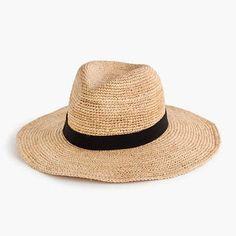 Wide-brim packable straw hat
