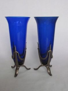 Pair Art Deco Cobalt Blue Vases