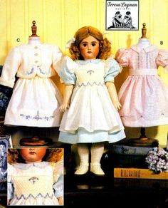 "OOP 18"" Heirloom Doll Clothes Smocking Layman Sewing Pattern Vogue 7532 612 787 